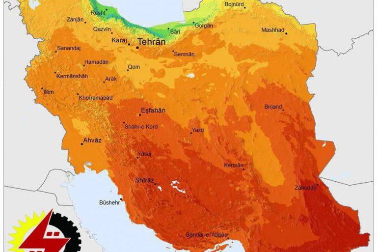 میانگین سالانه تابش خورشید در نقاط مختلف ایران
